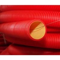 Двустенная труба ПНД гибкая для кабельной канализации, d90, с протяжкой, без муфты, цвет красный, 121990N, ДКС