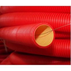 Труба гибкая двустенная электротехническая из полиэтилена для кабельной канализации, в комплекте с заготовкой для ввода кабеля, без муфты, диаметр внеш./внут., мм 125/107; кольцевая жесткость, кПа 8,0