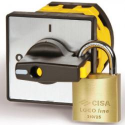 Серебрянная площадка 48х48 - черная ручка с блокировкой R03 на дверь AZ0301 ДКС
