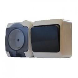 Блок - 1 розетка + 1 выключатель (1шт. роз. 2Р+PE + 1 шт. одноклав. выкл.) 2РЗ16-З-ВЗ-1-IP44N, АСКО