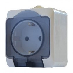 Розетка с прозрачной крышкой 2Р+PE РЗ16-З-IP44N, АСКО