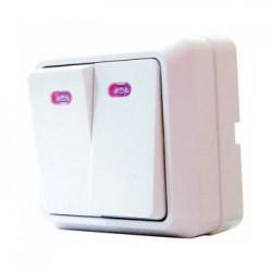 Выключатель 2-кл. с подсветкой BЗ10-2-1-Сb-W, АСКО