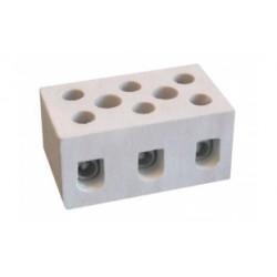 Термостойкая керамическая клеммная колодка, 34х19х25 мм, 3 полюса, 6А,65705,ДКС