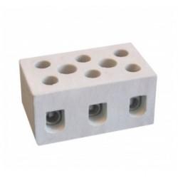 Термостойкая керамическая клеммная колодка, 37х21х26 мм, 3 полюса, 20А,65706,ДКС