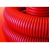 Двустенная труба ПНД гибкая для кабельной канализации д.90мм с протяжкой и муфтой, SN8, в бухте 50м, цвет красный, 121990, ДКС