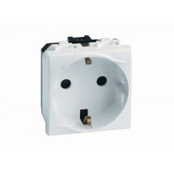 Электрическая розетка, с заземлением, со шторками, 16А, 250В, 2 модуля, поликарбонат, IP20, белый RAL9010, 76482B, ДКС