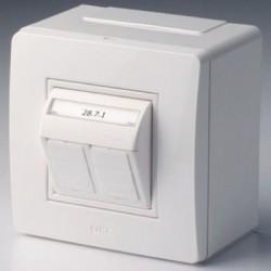 Коробка в сборе с 2-мя телефонными/компьютерными розетками, белый , 10656, ДКС