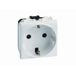Электрическая розетка, с заземлением, со шторками, 16А, 250В, 2 модуля, поликарбонат, IP20, цвет слоновая кость RAL9001, 75482S, ДКС